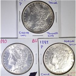 3 BU MORGAN DOLLARS  1889, 90, 91