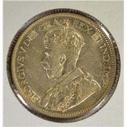1929 SILVER 25 CENT CANADA  CH AU+