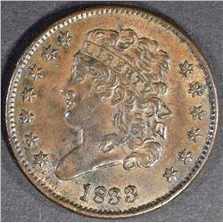 1833 HALF CENT CH BU