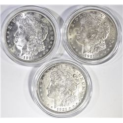 3 CH BU 1921 MORGAN DOLLARS
