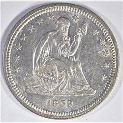 1859 SEATED LIBERTY QUARTER BU