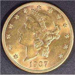 1907-D $20 GOLD LIBERTY GEM BU