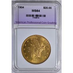 1904 $20 GOLD LIBERTY APCG CH/GEM BU