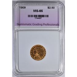 1909 $2.5 INDIAN GOLD NGP GEM BU