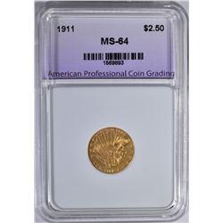 1911 $2.5 GOLD INDIAN APCG CH/GEM BU