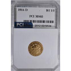 1914-D $2.5 GOLD INDIAN PCI GEM BU