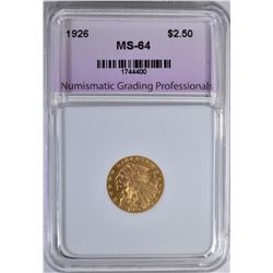 1926 $2.5 GOLD INDIAN NGP CH/GEM BU