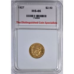 1927 $2.5 GOLD INDIAN TDCS GEM BU