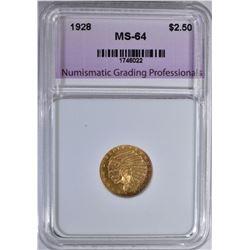 1928 $2.5 GOLD INDIAN NGP CH/GEM BU
