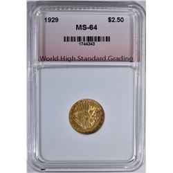1929 $2.5 GOLD INDIAN WHSG CH/GEM BU