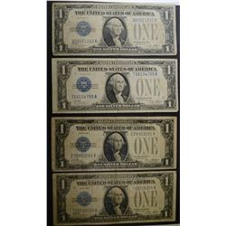 """4- 1928 SILVER CERTS """"FUNNY BACK NOTES"""" -NICE CR"""
