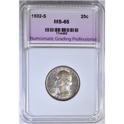 1932-S WASHINGTON QUARTER, NGP GEM BU