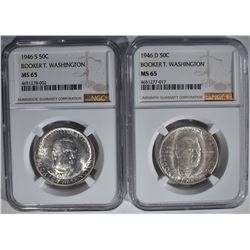 1946-D&S B.T. WASHINGTON HALVES, NGC MS-65