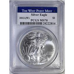 2013 W AMERICAN SILVER EAGLE  PCGS MS 70