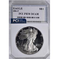 1994 P  AMERICAN SILVER EAGLE  PCI PR 70 DCAM
