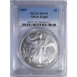 2005 AMERICAN SILVER EAGLE  PCGS MS 70