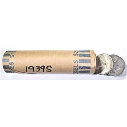 ROLL 1939 S JEFFERSON NICKELS KEY DATE,