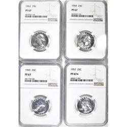 (4) PROOF SILVER QUARTERS, 1 NGC 1957 PF 67 STAR,