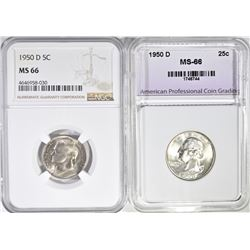 1950 D NICKEL  NGC MS 66 & 1950 D WASHINGTON