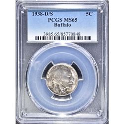 1938 D/S BUFFALO NICKEL  PCGS MS 65