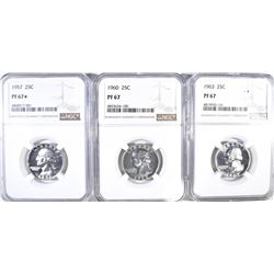 3 QUARTER LOT:  1957 NGC PF 67 STAR,