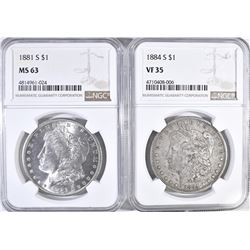 1884 S MORGAN DOLLAR NGC VF 35,