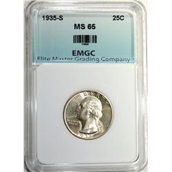 1935-S WASHINGTON QUARTER, EMGC GEM BU
