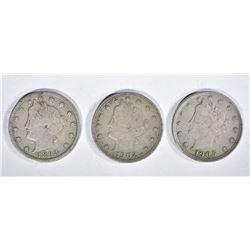 "LIBERTY ""V"" NICKELS: 1905 & 1902 XF,"