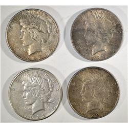 1922, 22-S, 23 & 23-S CIRC PEACE DOLLARS