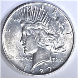 1927-D PEACE DOLLAR, AU/BU