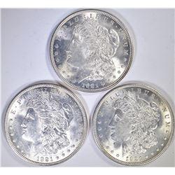 3-1921 MORGAN DOLLARS, CH BU