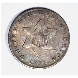 1851 3-CENT SILVER,  HAS LUSTER