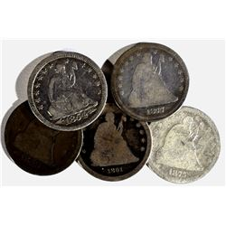 5 CIRC SEATED LIBERTY QUARTERS:
