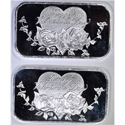 2-HAPPY VALINTINES DAY 1oz SILVER BARS