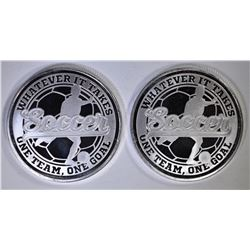 2-SOCCER 1oz .999 SILVER ROUNDS