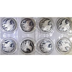 8-ONE OUNCE .999 SILVER ROUNDS IN PLASTIC