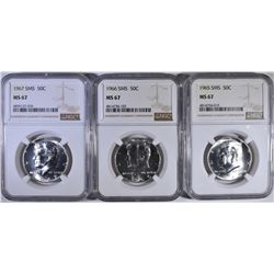 1965, 66 & 67 SMS KENNEDY HALF DIOLLARS, NGC MS-67