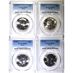 4-1976-S SILVER KENNEDY HALF DOLLARS, PCGS MS-66
