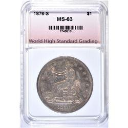 1876-S TRADE DOLLAR, WHSG CH BU