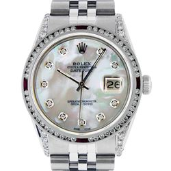 Rolex Men's Stainless Steel MOP Diamond & Ruby Diamond Datejust Wristwatch