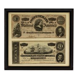 Framed Lot of 1864 $20 & $100 Confederate States of America Note