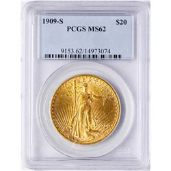 1909-S $20 St. Gaudens Double Eagle Gold Coin PCGS MS62