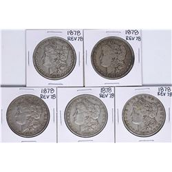 Lot of (5) 1878 Reverse of 78' $1 Morgan Silver Dollar Coins