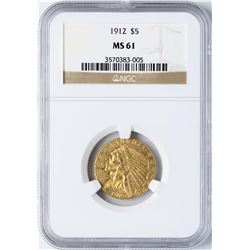 1912 $5 Indian Head Half Eagle Gold Coin NGC MS61