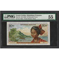 1963 French Antilles 10 Nouveaux Francs Note Pick# 5a PMG About Uncirculated 55