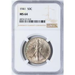 1941 Walking Liberty Half Dollar Coin NGC MS64