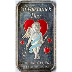 February 14, 1974 Valentine's Day Enamel Silver Art Bar