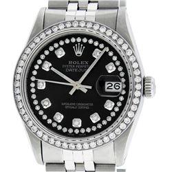 Rolex Men's Stainless Steel Black String Diamond 36MM Datejust Wristwatch