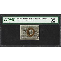 1863 Ten Cents Second Issue Fractional Note Fr.1246 PMG Uncirculated 62EPQ