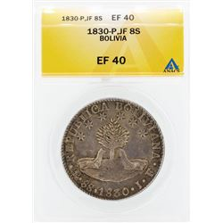 1830-P JF 8 Soles Bolivia Coin ANACS EF40